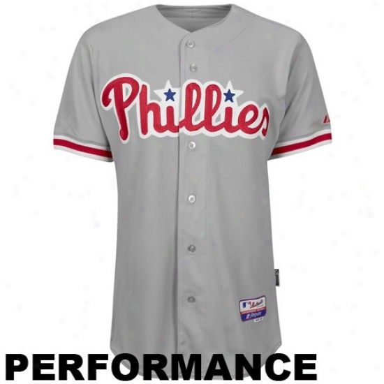 Philadelphia Phillies Jesreys : Majestic Philadelphia Phillies Gray Authentic Cool Base Baseball Jerseys