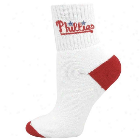 Philadelphia Phillies Ladies White Woven Logo 6-11 Socks