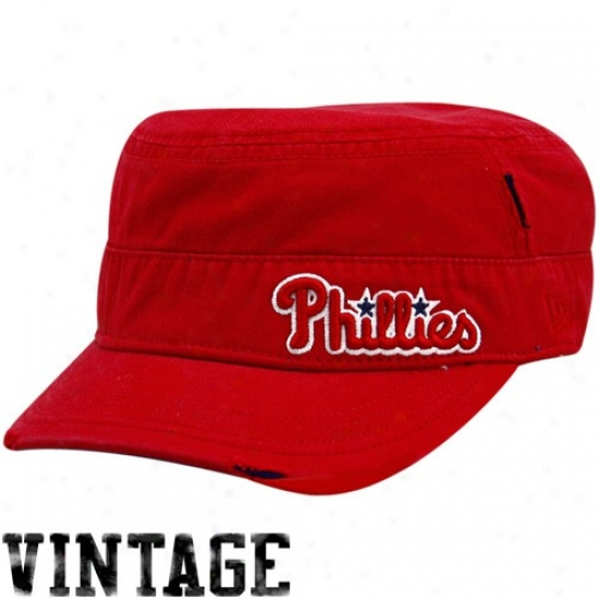 Philadelphia Phillies Commodities: New Era Philadelphia Phillies Ladies Red Distressed Military Style Adjustable Hat