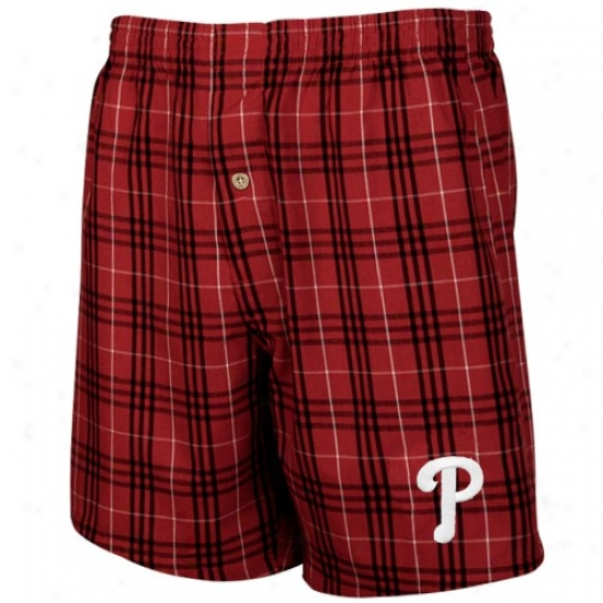 Philadelphia Phillies Red Plaid Event Boxer Shorts