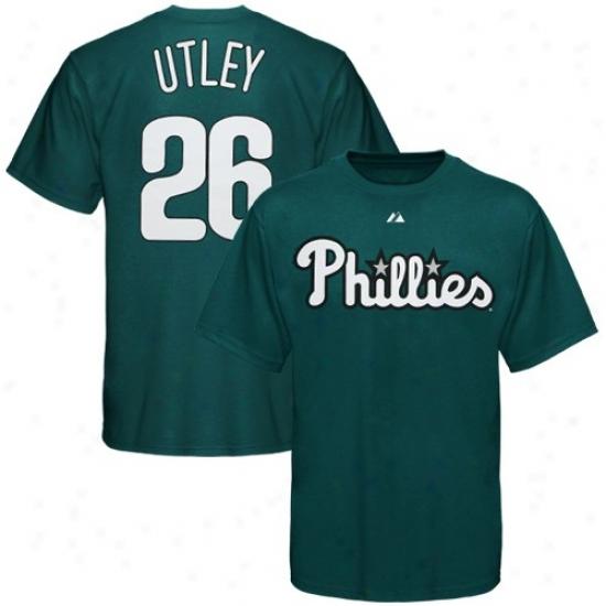 Philadelphia Phillies Shirt : Majestic Philadelphia Phillies #26 Chase Utlry Green City Colors Player Shirt