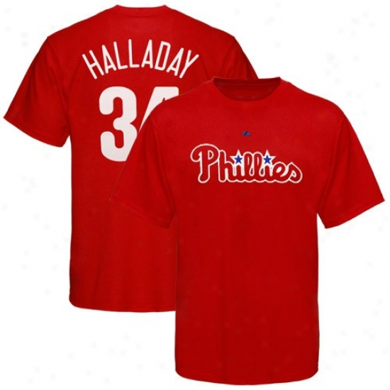 Philwdelphia Phillies Shhirt : Splendid Philadelphia Phillies #34 Roy Halladay Red Player Shirt