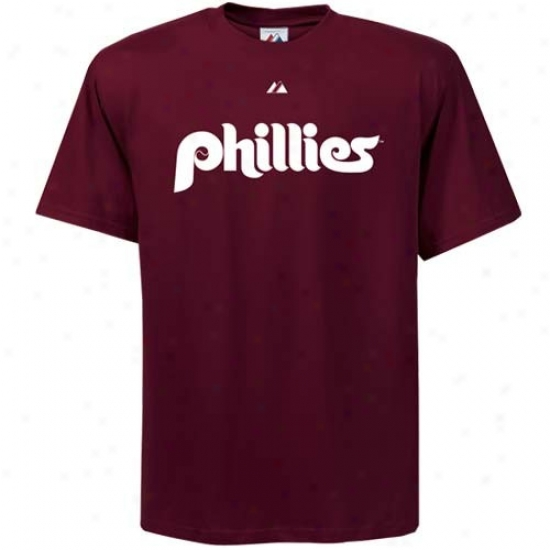 Philadelphia Phillies Shirt : Majestic Philadelphia Phillies Maroon Wordmark Shirt