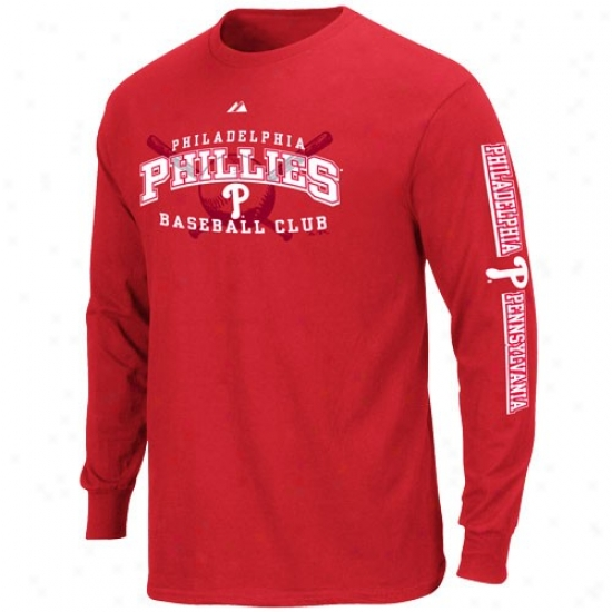 Philadelphia Phillies Shirt : Majestic Philadelphia Phillies Youth Red Monster Play Long Sleeve Shirt