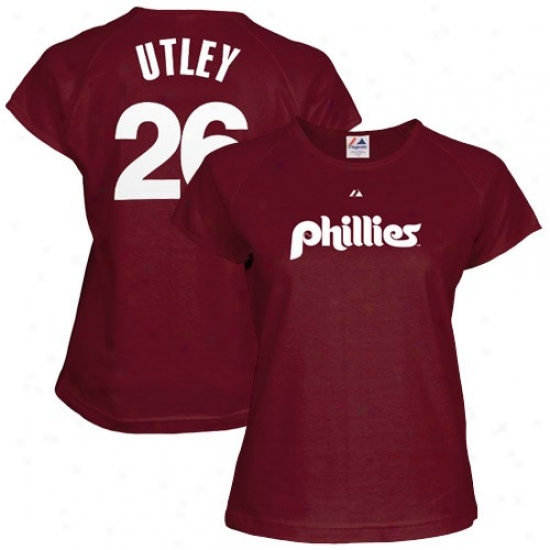 Philadelphia Pnillies Shirt : Majestic Philadelphia Philkirs #26 Chase Utley Ladies Maroon Cooperstowj Player Shirt