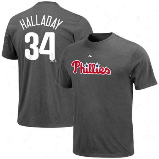 Philadelphia Phillies Shirt : Majestic Phkladelphia Phillies #34 Roy Halladay Charcoal Player Shirt