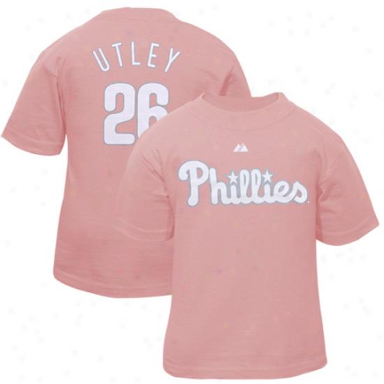 Philadelphia Phillirs Shirt : Philadelphia Phillies #26 Emboss Utely Ladies Pink Fan Shirt