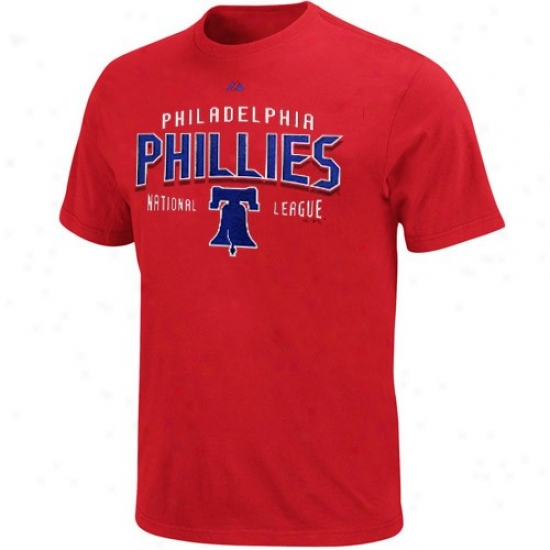 Philadelphia Phillies Shirts : Majestic Philadelphia Philies Red Base Knock Shirys