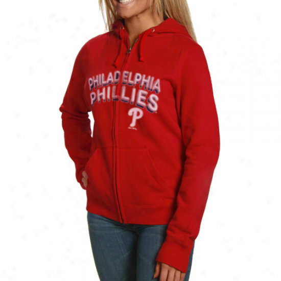 Philadelphia Phillies Cram: Majestic Philadelphia Phillies Ladies Red Instant Replay Full Zip Hoody Sweatshirt