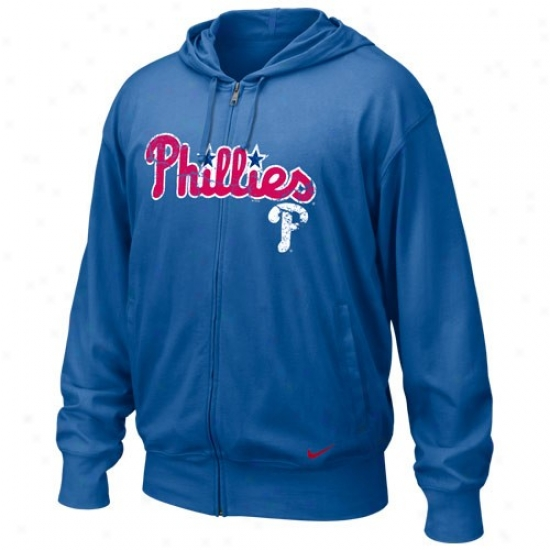 Philadelphia Phillies Stuff: Nike Philadelphia Phillies Royal Blue Mlb Pick Off Full Zip Long Sleeve Hooddy T-shirt