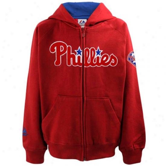 Philadelphia Phillies Sweat Shirt : Majestic Philadelphia Phillies Preschool Red Mlb Full Zip Sweat Shirt