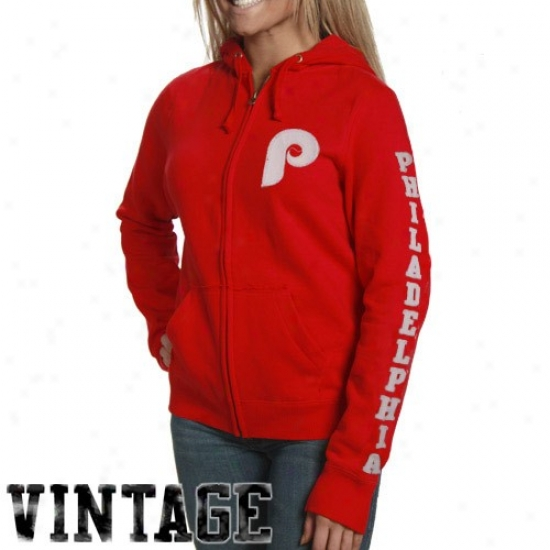 Philadelphia Phillies Sweat Shirt : Philadelphia Phillies Ladies Red Charmed Exactly Zip Sweat Shirt