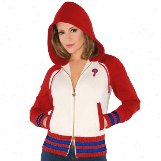 Philadelphia Phillies Swea5 Shirt : Touch By Alyssa Mioano Philadelphia Phiplies Ladies Cream-red Close Game Saturated Zip Sweat Shirt