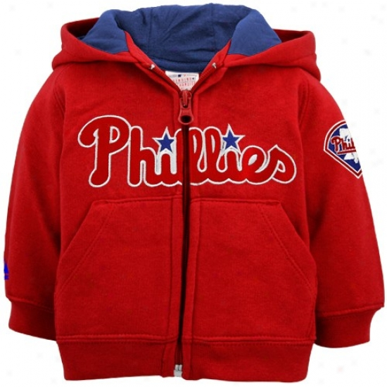 Philadelphia Phillies Sweat Shirts : Majestic Philadelphia Phillies Toddler Red Zip Up Sseat Shirts