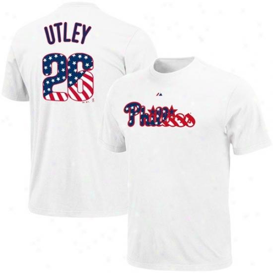 Philadelphia Phillies T-shirt : August Philadelphia Phillies #26 Chase Utley White Stars & Stripes Logo T-shirt