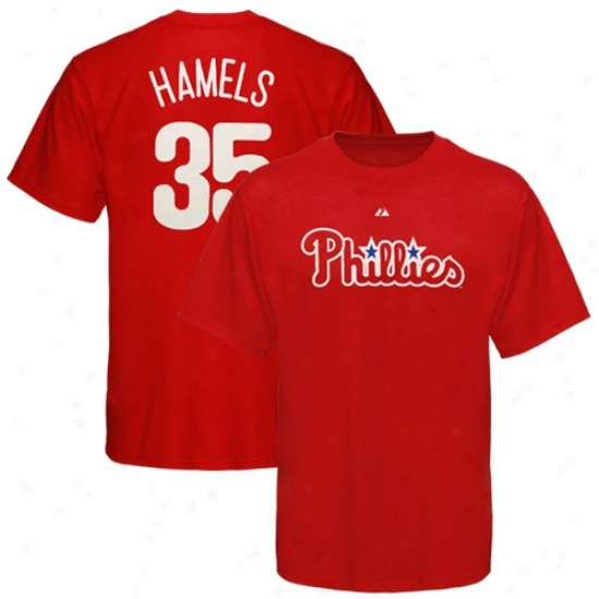 Philadelphia Phillies T-shirt : Majestic Philadelphia Phillies #35 Clle Hamels Red Player T-shirt