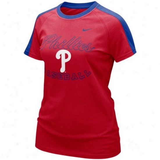Philadelphi Pahillies T Shirt : Nike Philadelphia Phillies Ladies Red Centerfidld T Shirt