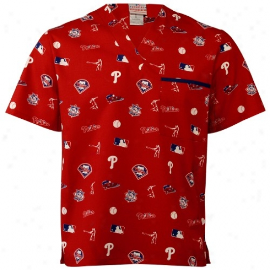 Philadelphia Phillies T-shirt : Philadelphia Phillies Red All Over Print Scrub Top
