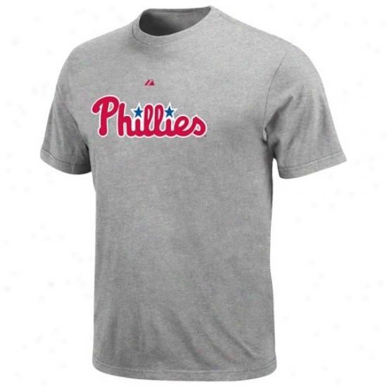 Philaadelphia Phillies Tee : Majestic Philadelphia Phillies Ash Official Wordmark Tee