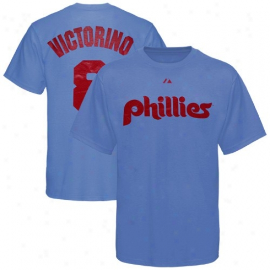 Philadelphia Phillies Tees : Majestic Philadelphia Phillies #8 Shane Victorino Light Blue Player Name & Number Tees