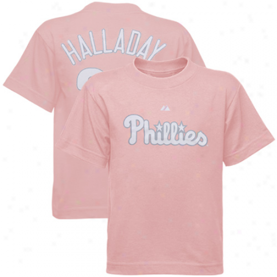 Philadelphia Phillies Tees : Majestic Philadelphia Phillies #34 Matt Halladay Preschool Girls Pink Player Tees