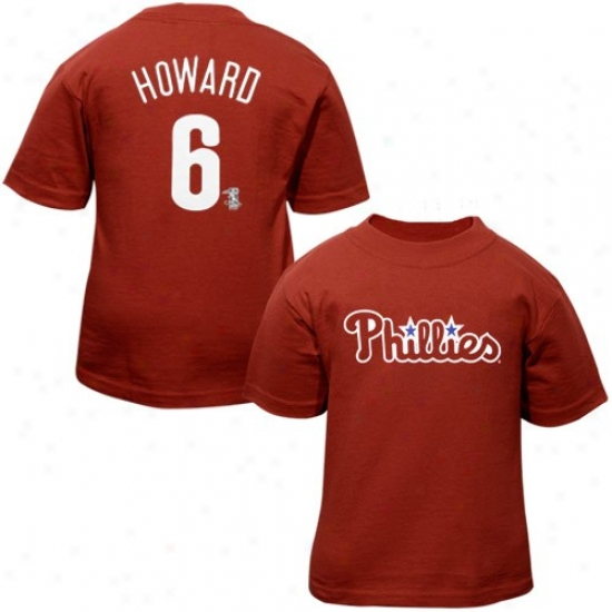 Philaedlphia Phillies Tshirt : Majestic Philadelphia Philliea #6 Ryan Howard Red Preschool Players Tshirt