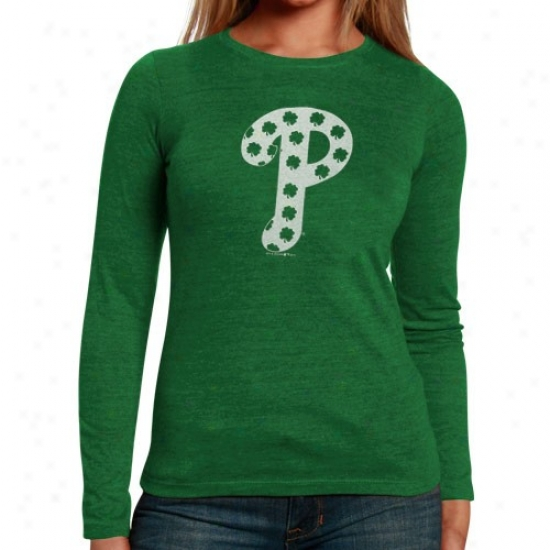 Philadelphia Phillies Tshirt : Philadelphia Phillies Ladies Kelly Green St. Patrick's Day Tiny Shamrock Triblend Long Sleeve Tshirt