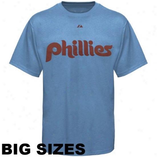 Philadelphia Phillies Tshirts : Majestic Philadelphia Phillies Light Blue Team Logo Big Sizes Tshirts