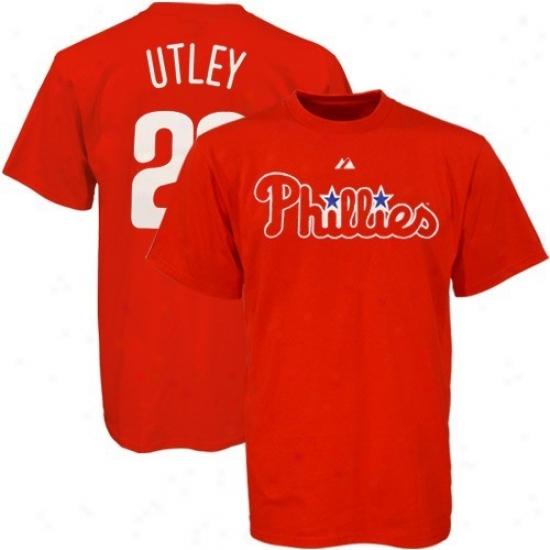 Philadelphia Phillies Tdhirts : Majestic Philadelphia Phillies #25 Chase Utley Red Players Tshirts