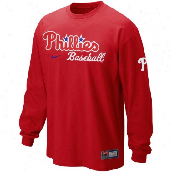 Philadelphia Phillies Tshirts : Nike Philadelphia Phillies Red Mlb Practice Long Sleeve Tshirts
