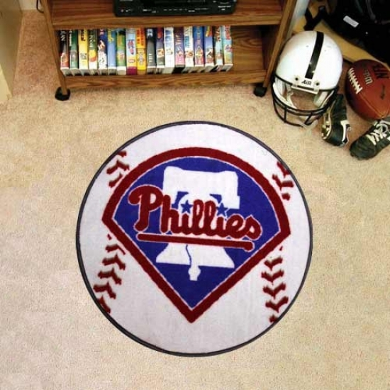 Philadelphia Phillies White Round Baseball Mat