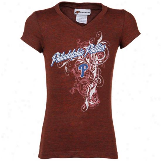 Philadelphia Phillies Youth Girls Red Tattoo Tri-blend V-neck T-shirt