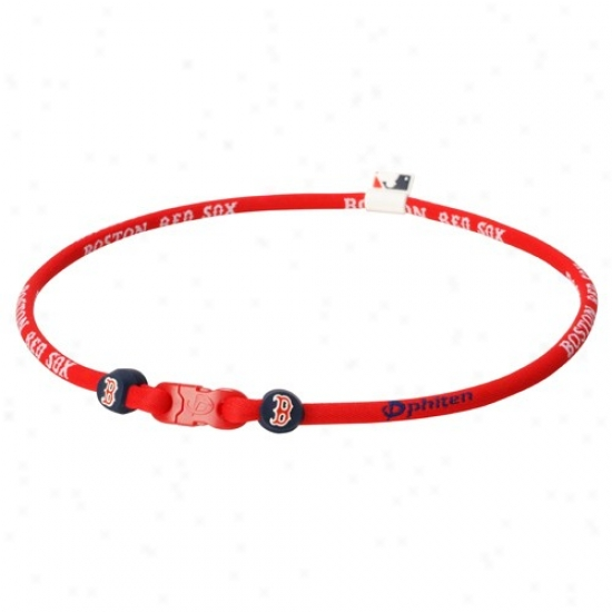 Phiten Boston Red Sox Red Nylon X30 Necklace With Titanium Technology