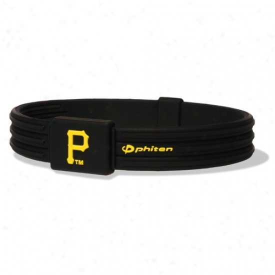 Phiten Pittsburgg Pirates Black Mlb Authentic Collection Silicone Bracelet S-type Through  Titanium Technology