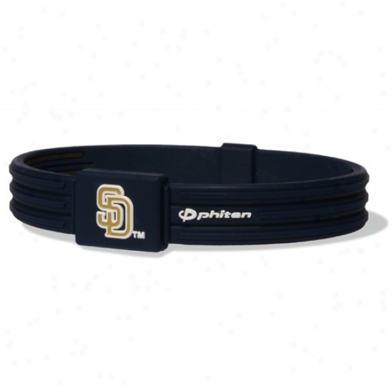 Phiten San Diego Padres Navy Blue Mlb Authentic Collection Silicone Bracelet S-type With Titanium Techhol0gy