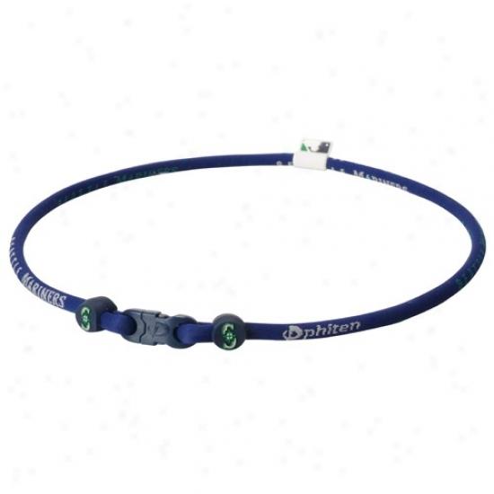 Phiten Seattle Mariners Navy Blue Nylon X30 Necklace With Titaium Technology