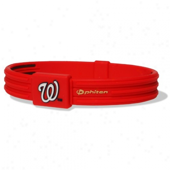 Phiten Washington Nationaks Red Mlb Authentic Collection Silicone Bracelet S-type With Titanium Technology