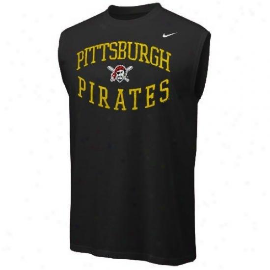 Pittsbburgh Pirates Apparel: Nike Pittsburgh Pirates Black Team Logo Sleeve1ess T-shirt