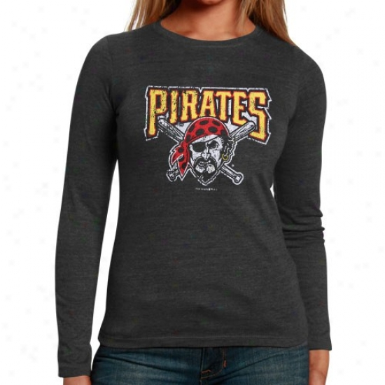 Pittsburgh Pirates Appsrel: Pittsbuurgh Pirates Ladies Black Distressed Logo Triblend Long Sleeve T-shirt