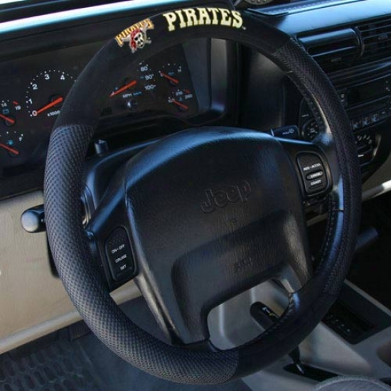 Pittsburgh Porates Black Poly Suede & Ensnare Steering Wheel Cover