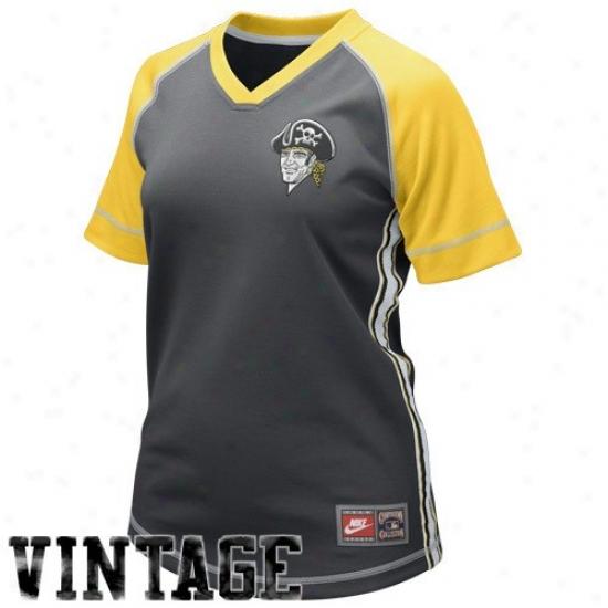 Pittsburgh Pirates Jersey : Nike Pittsburgh Pirates Ladies Graphite Cooperstown Throwback Baseball Jersey