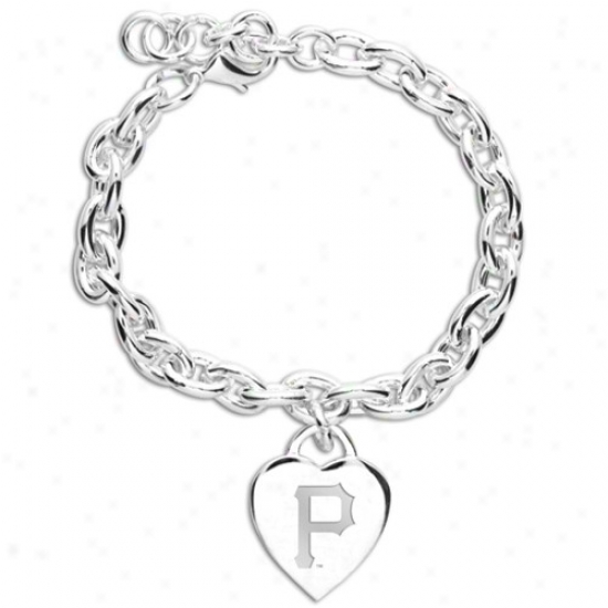 Pittsburgh Pirates Ladise Silver Heart Charm Bracelet