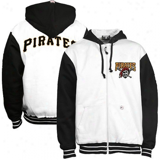 Pittsburgh Pirates Sweatshirts : Pittsburgh Pirates White Full Zip Sweatshirts