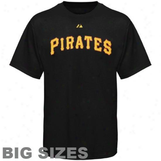 Pittsburgh Pirates T Shirt : Majestic Pittsburgh Pirates Black Tsam Logo Big Sizes T Shirt