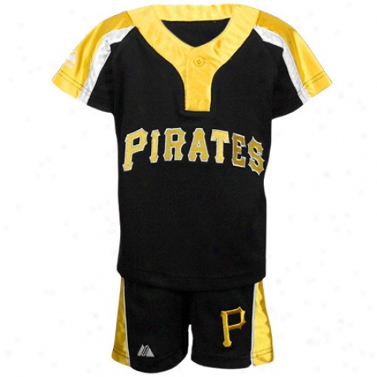 Pittsburgh Pirates Tee : Majestic Pittsburgh Pirates Toddler Black Batting Practice Jersey & Shorts Set