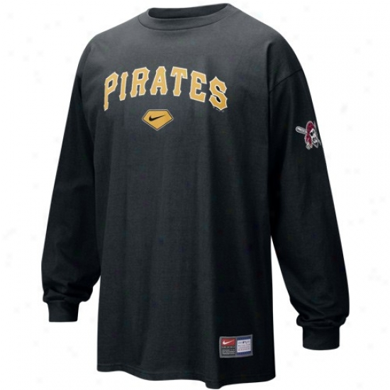Pittsburgh Pirates Tees : Nike Pittsburgh Piratse Black Practice Long Sleeve Tees
