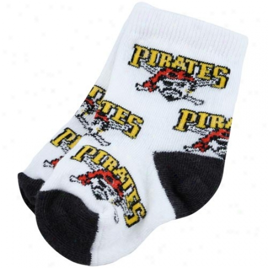 Pittsburgh Pirates White Infant 903 (0-13) All Over Team Logo Bootie Socks