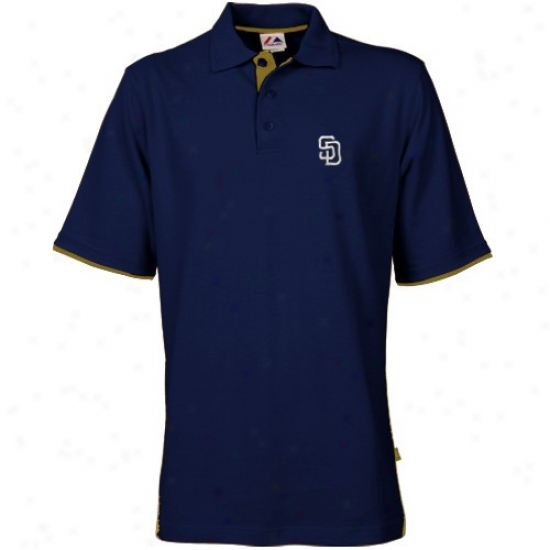 San Diego Padres Clothing: Majestic San Diego Padres Navy Blue Sljgger Short Sleeve Polo