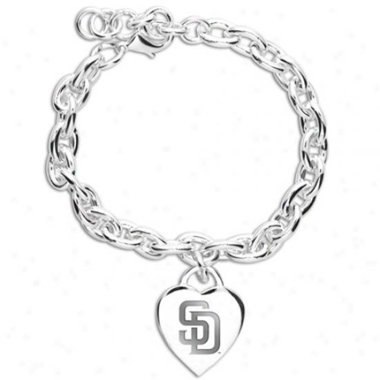 San Diego Padres Ladies Silver Heart Charm Bracelet