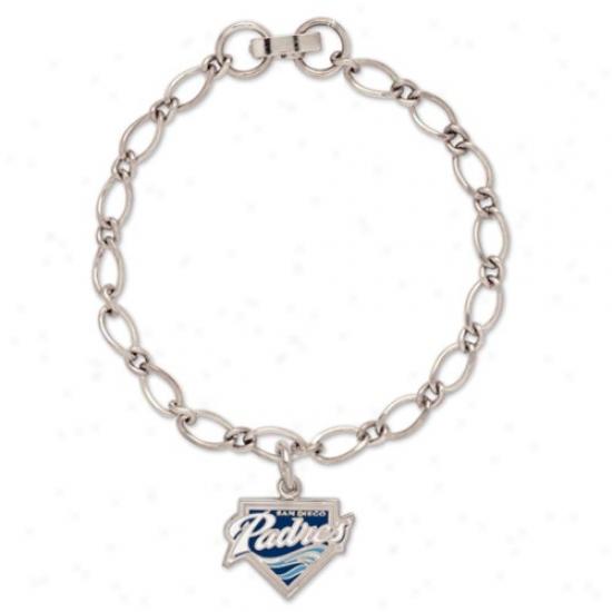 San Diego Padres Ladies Silver-tone Charm Bracelet